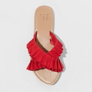 ♥️♥️♥️HOST PICK♥️♥️♥️Red Ruffled sandal slip ons